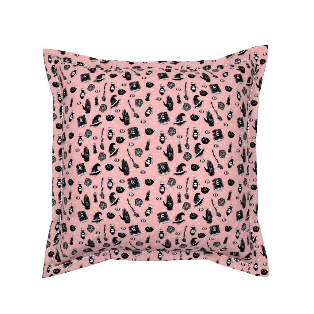 Serama Throw Pillow featuring Witchy Pattern on Pastel Pink by noeldraws