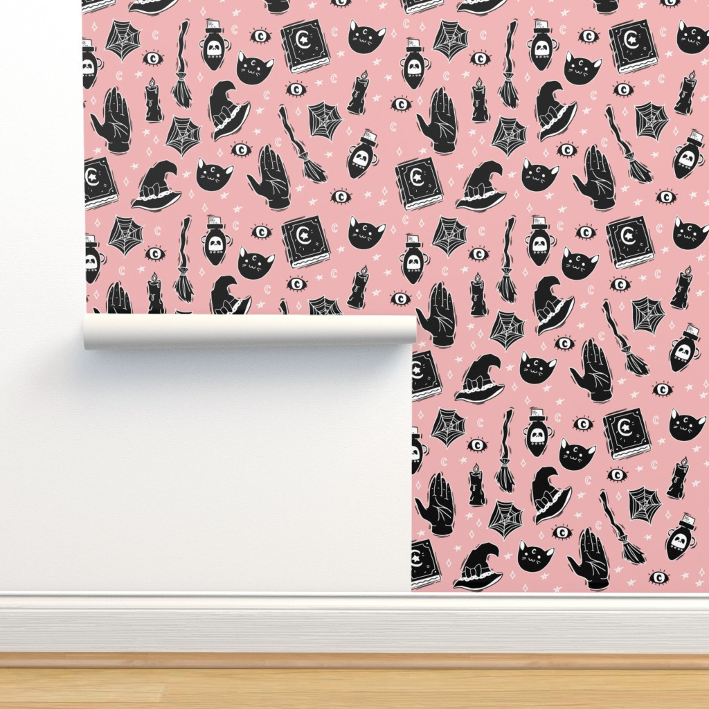 Isobar Durable Wallpaper featuring Witchy Pattern on Pastel Pink by noeldraws