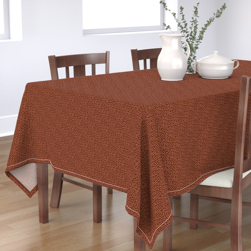 Bantam Rectangular Tablecloth featuring Twinkling Pink Dots on  Chocolate Fudge - Small Scale by rhondadesigns