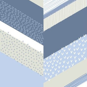 Chevron with Textures / Denim Blue and Gray