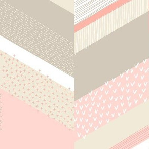 Chevron with Textures / Tan and Rose