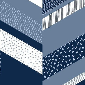 Chevron with Textures / Denim Blue and White