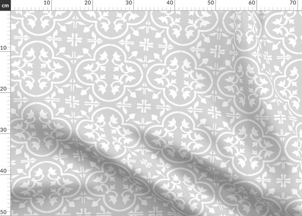 Fabric By The Yard White On Greige Reverse Moroccan Tile