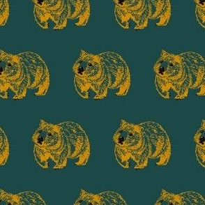 Wombat trot-OrangeOnGreen