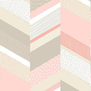 Small Chevron with Textures / Tan and Rose
