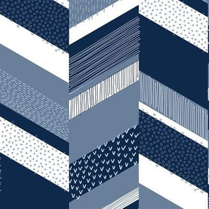 Small Chevron with Textures / Denim Blue and White