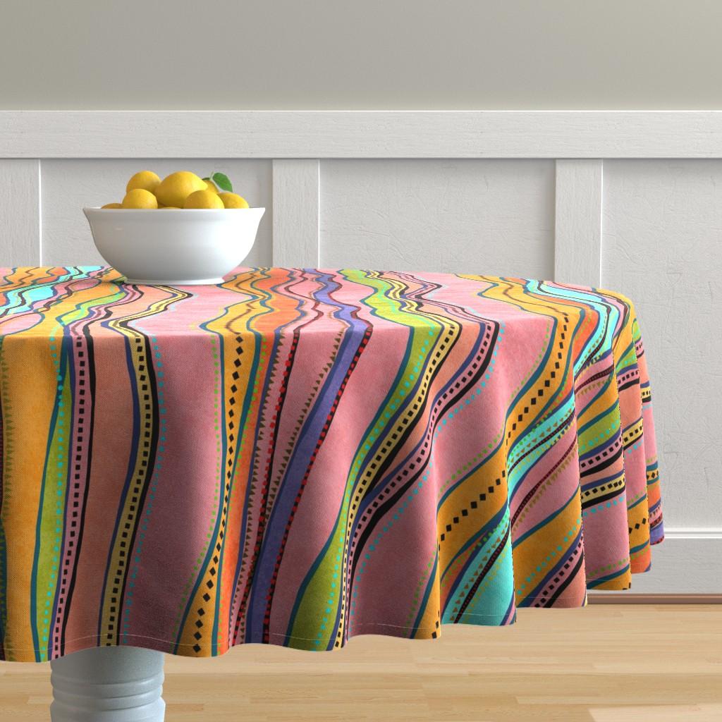 Malay Round Tablecloth featuring Castaways Papaya 150 by kadyson
