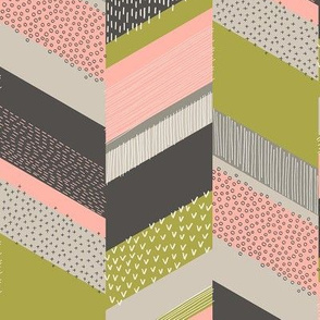 Small Chevron with Textures / Rose and Green