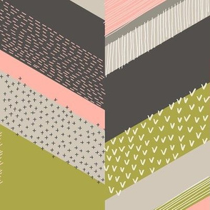 Chevron with Textures / Rose and Green