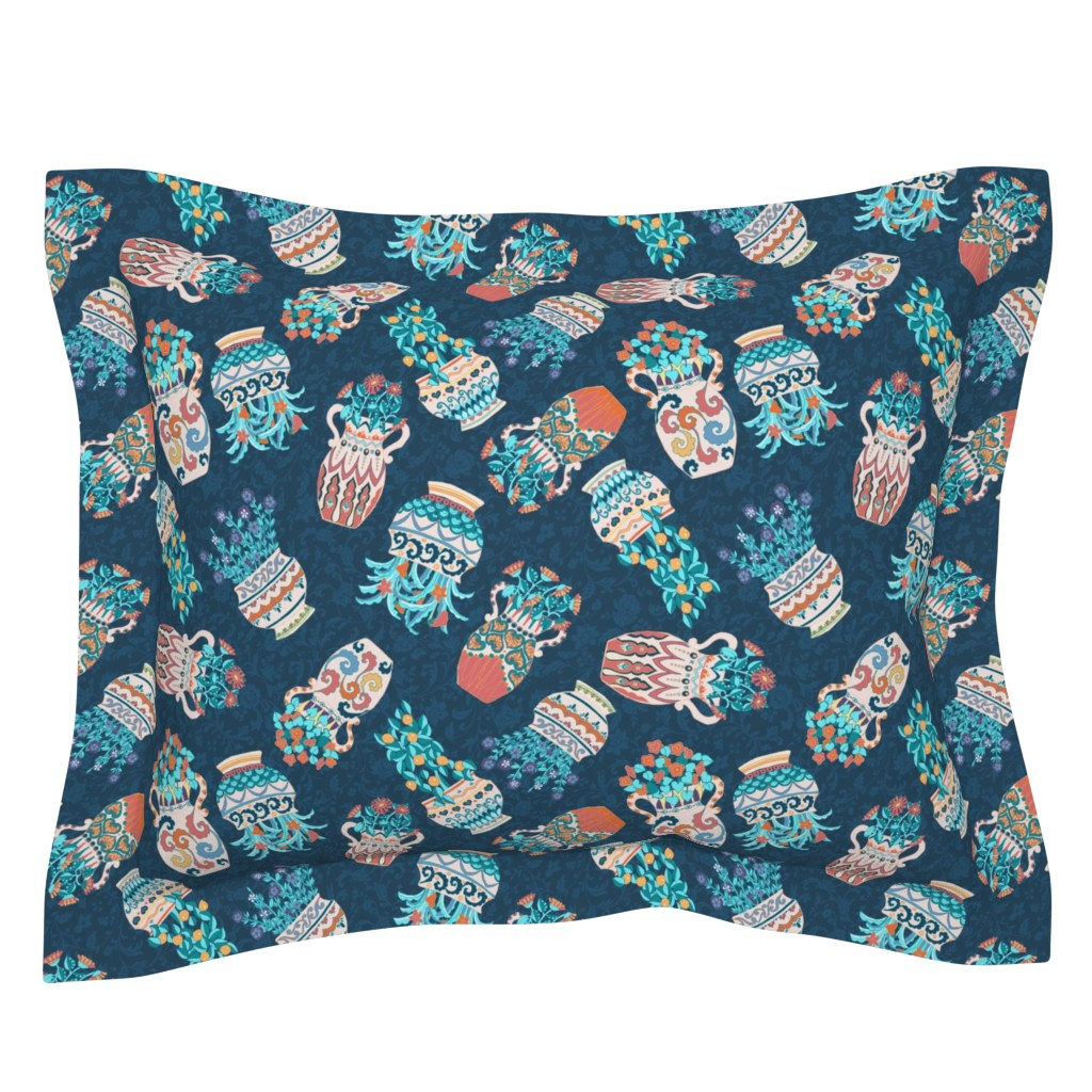 Sebright Pillow Sham featuring Planters scatter blue by the_window_way_(kirpa)