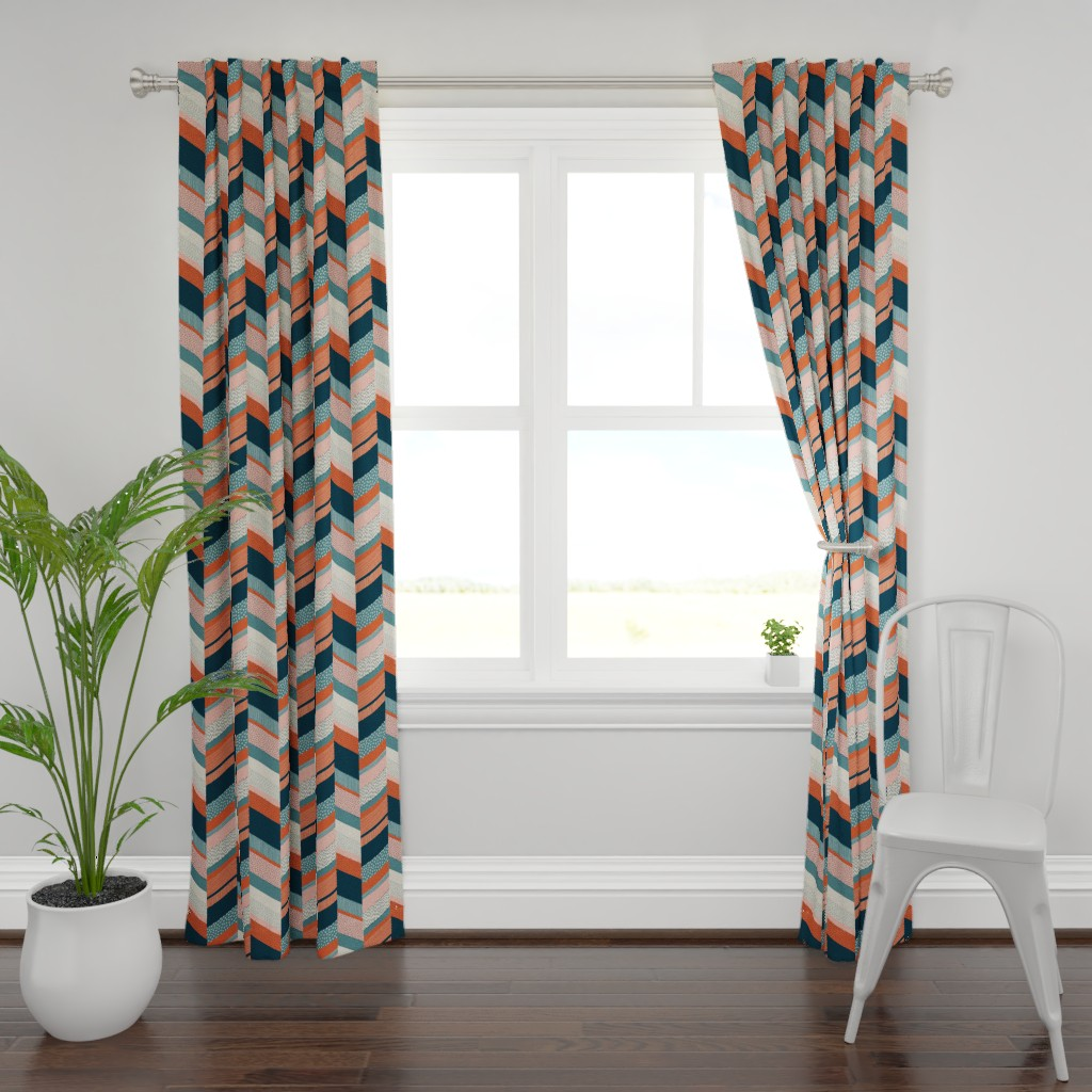 Plymouth Curtain Panel featuring Chevron with Textures / Orange and Persian Green by marketa_stengl
