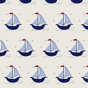Sailboat blue navy green stars waves hobie cat beetle cat sailboat