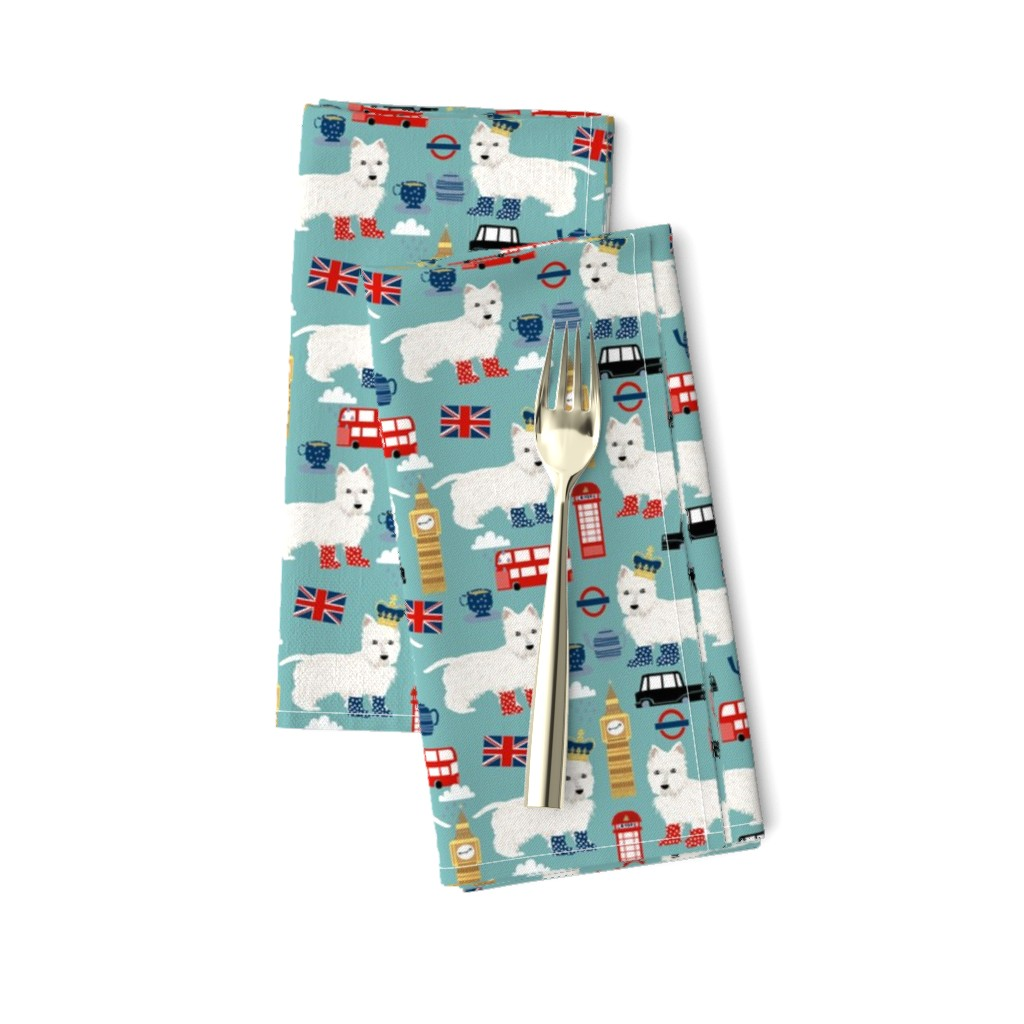 Amarela Dinner Napkins featuring westie london travel england big ben dog breed fabric blue by petfriendly