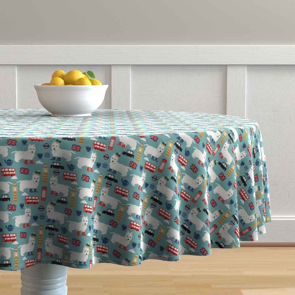Malay Round Tablecloth featuring westie london travel england big ben dog breed fabric blue by petfriendly