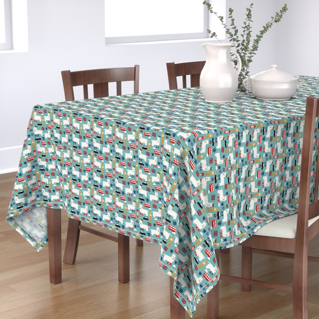 Bantam Rectangular Tablecloth featuring westie london travel england big ben dog breed fabric blue by petfriendly