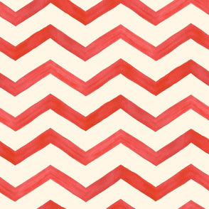 Red Watercolor Chevron Large