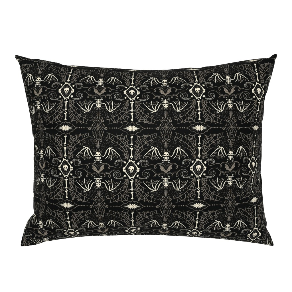 Campine Pillow Sham featuring Spooky Bat Skeleton by johannaparkerdesign
