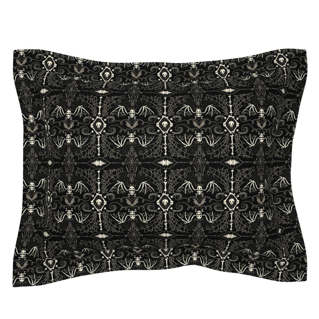 Sebright Pillow Sham featuring Spooky Bat Skeleton by johannaparkerdesign