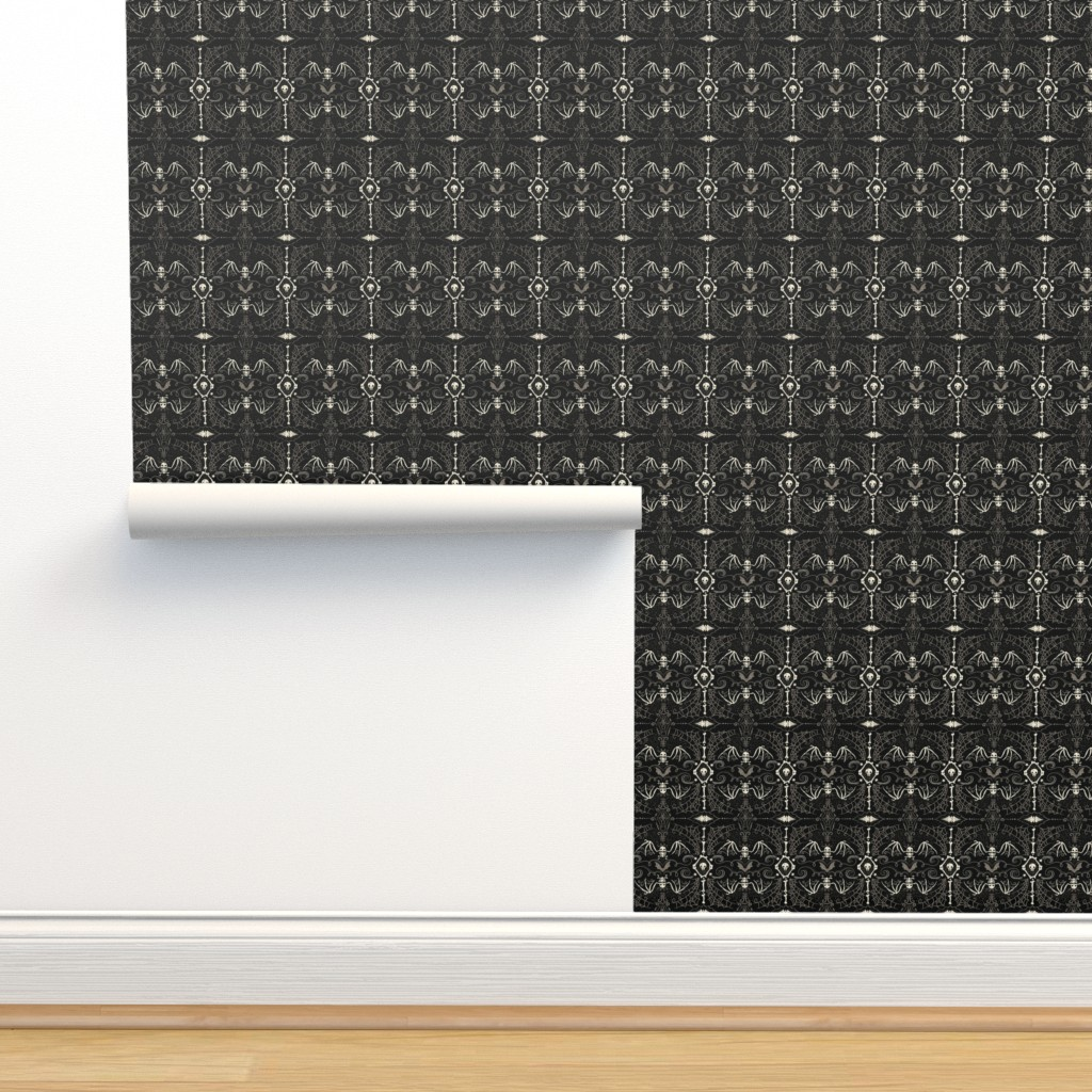 Isobar Durable Wallpaper featuring Spooky Bat Skeleton by johannaparkerdesign