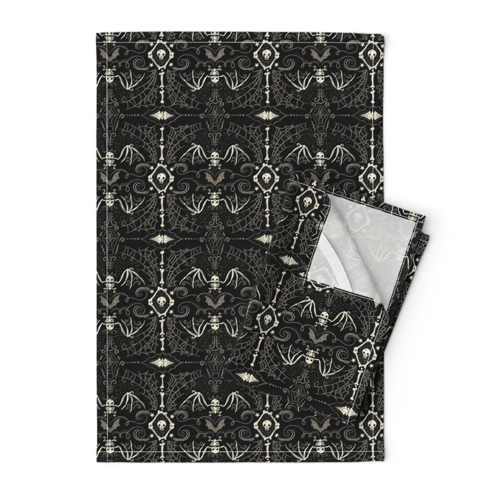 Orpington Tea Towels featuring Spooky Bat Skeleton by johannaparkerdesign