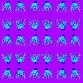 Small  - Digitally Hand Drawn Blue Octopus Swim Meet  on Purple with Stetson Newsboy Cap