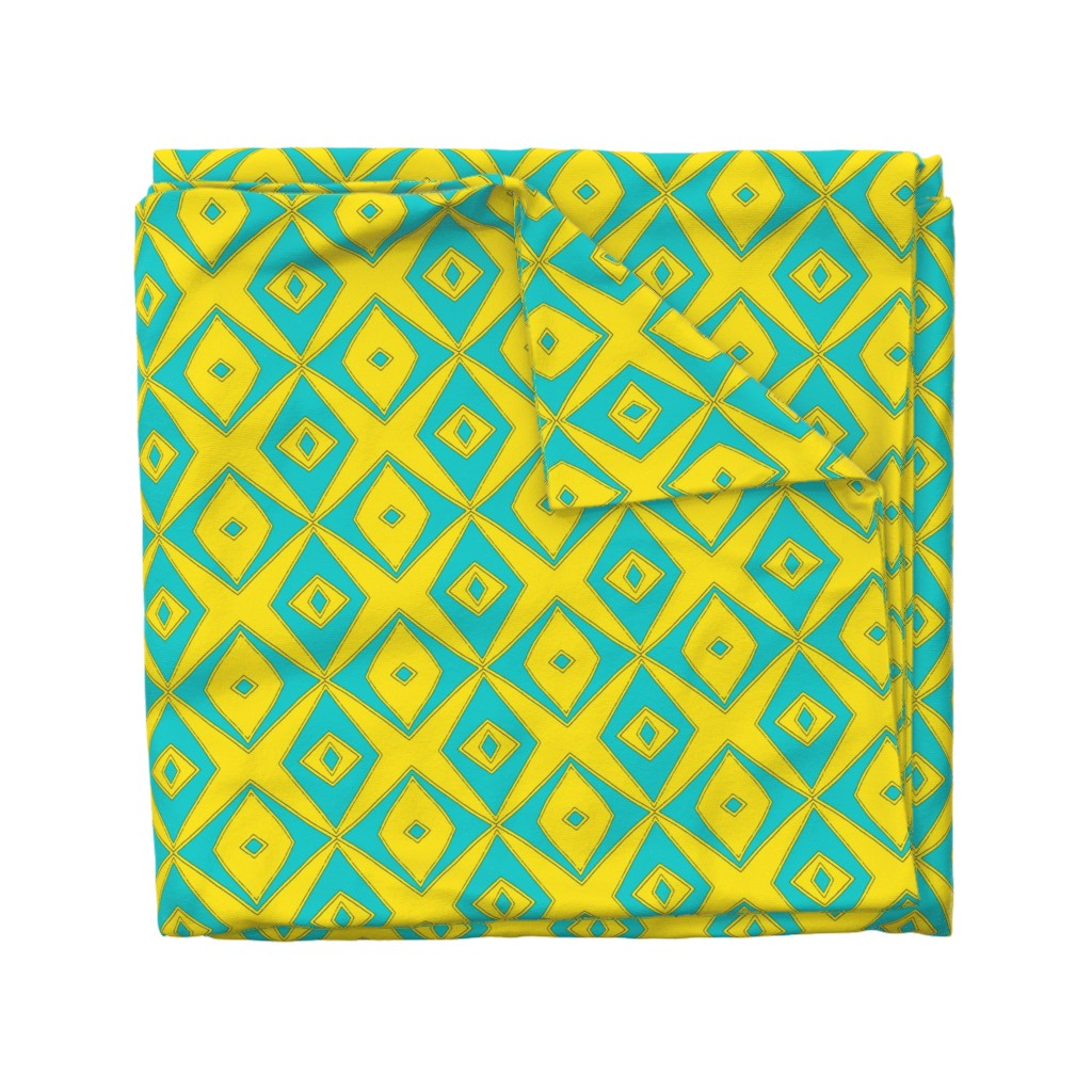 Wyandotte Duvet Cover featuring Ziwa Ziwa 2 in Turquoise & Yellow  by tabasamu_design