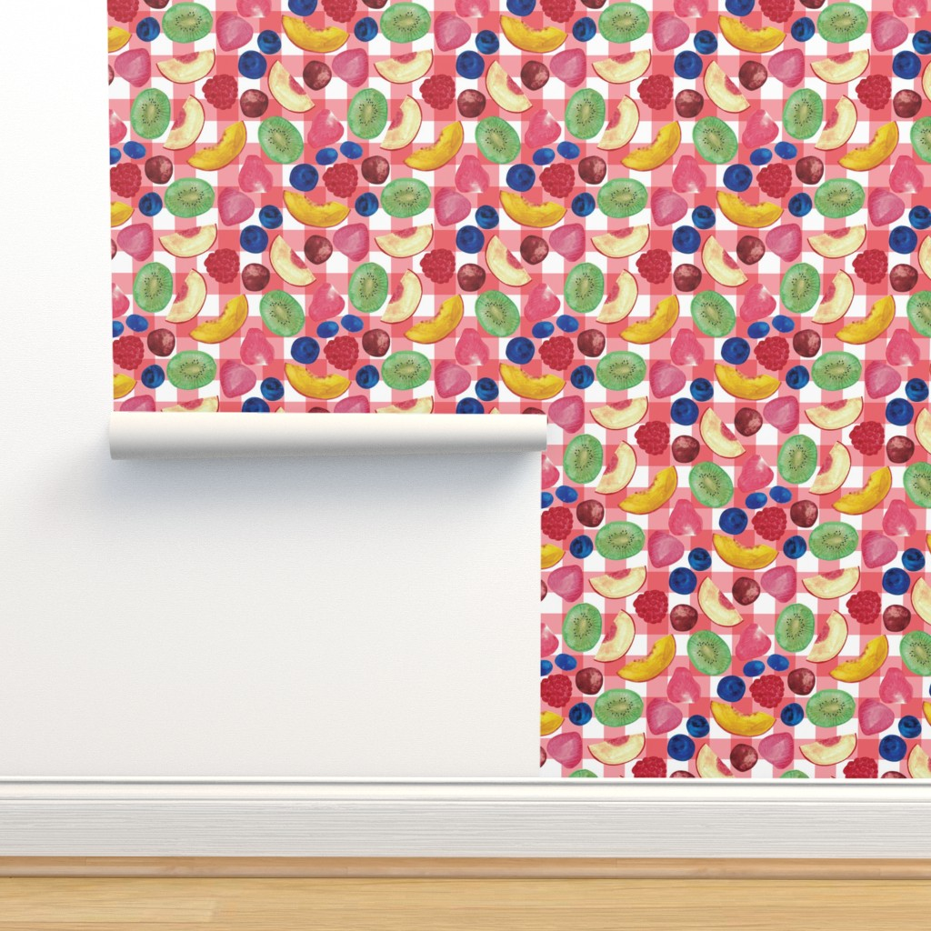 Isobar Durable Wallpaper featuring Summer Fruit Salad {Red/White Picnic} by ceciliamok