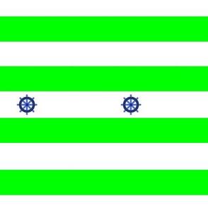 Rayures marine vert gouvernail de bateau - Green Navy pinstripe boat rudder
