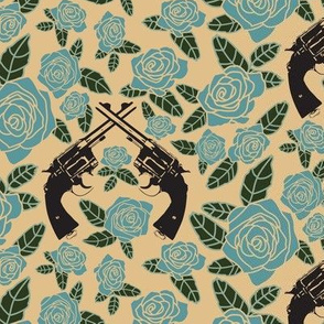 7416524-vintage-revolvers-on-blue-tan-floral-small-by-thinlinetextiles
