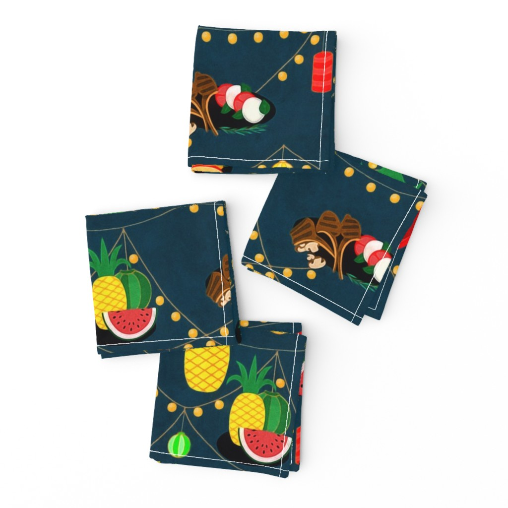 Frizzle Cocktail Napkins featuring  summer evening barbecue by dessineo