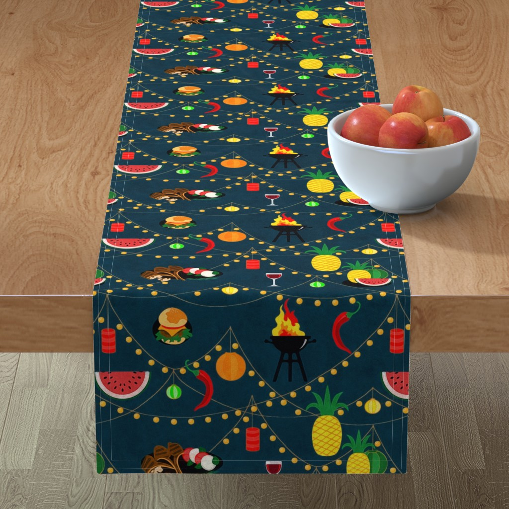 Minorca Table Runner featuring  summer evening barbecue by dessineo