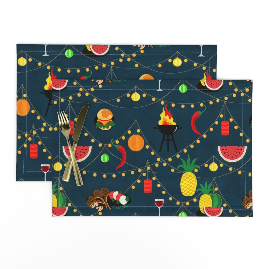 Lamona Cloth Placemats featuring  summer evening barbecue by dessineo