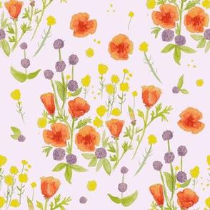 wildflowers watercolor on lilac / nursery baby kids floral design
