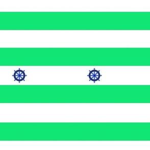 Rayures marine vert gouvernail de bateau - Green Navy pinstripe boat rudder (1)