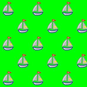 Bateau sur fond vert - boat on green background