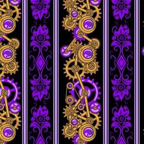Steampunk Damask Stripes (Purple)