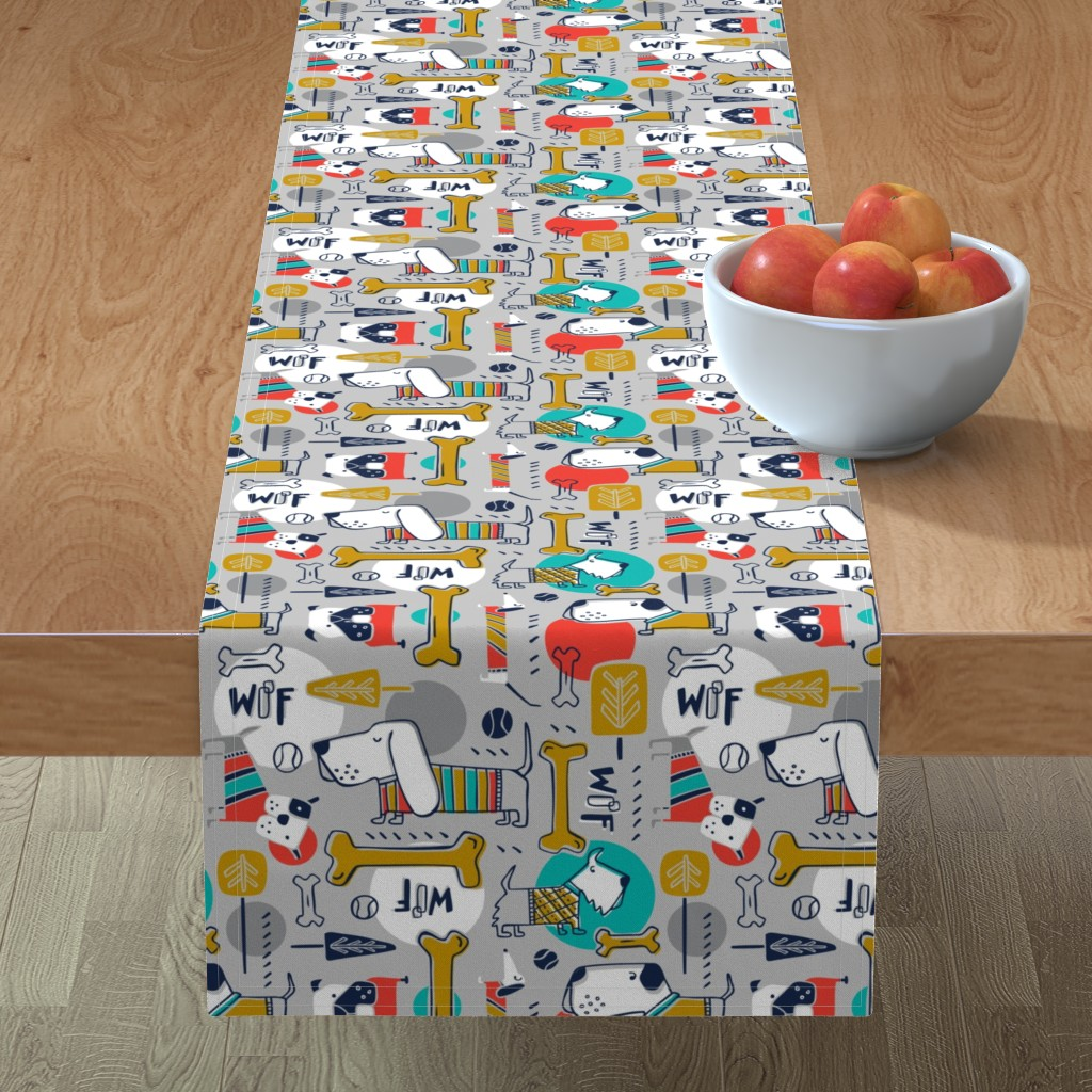 Minorca Table Runner featuring Dog Park - Grey Multi  by heatherdutton
