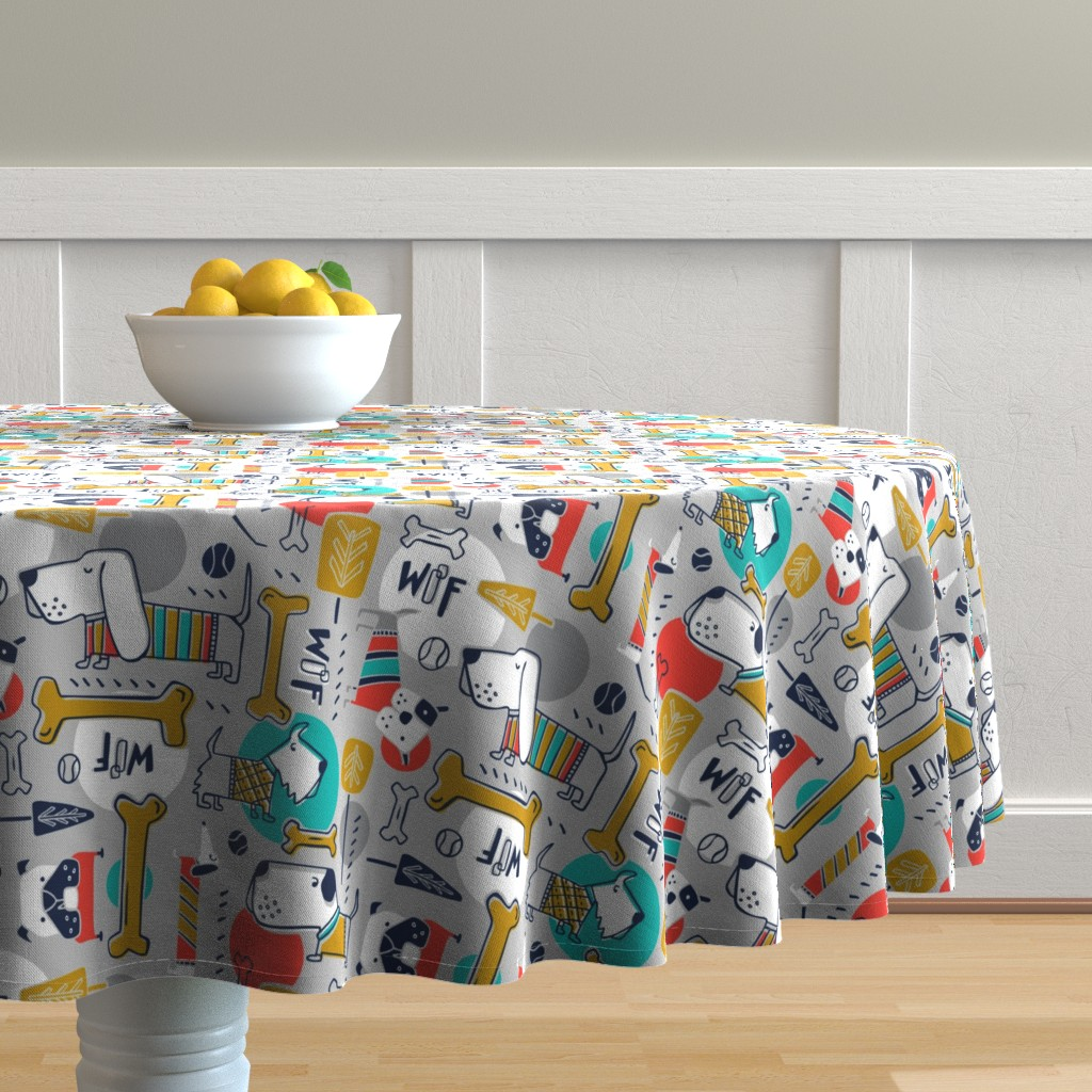 Malay Round Tablecloth featuring Dog Park - Grey Multi  by heatherdutton