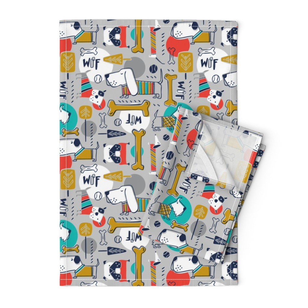 Orpington Tea Towels featuring Dog Park - Grey Multi  by heatherdutton
