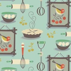 farmhouse kitchen blue