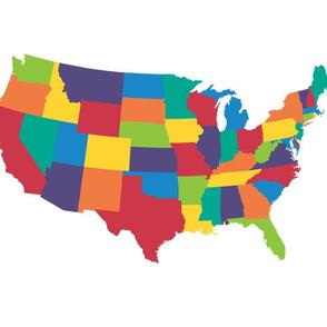 "Continental U.S. - 21x18"" panel, bright rainbow colors"