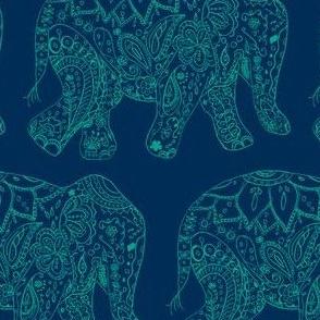 henna_elephant-dark blue and teal