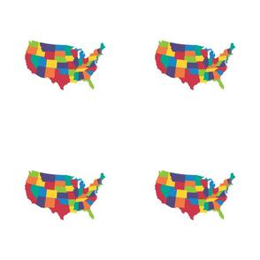 "Continental U.S. - 9x9"" panel, bright rainbow colors"