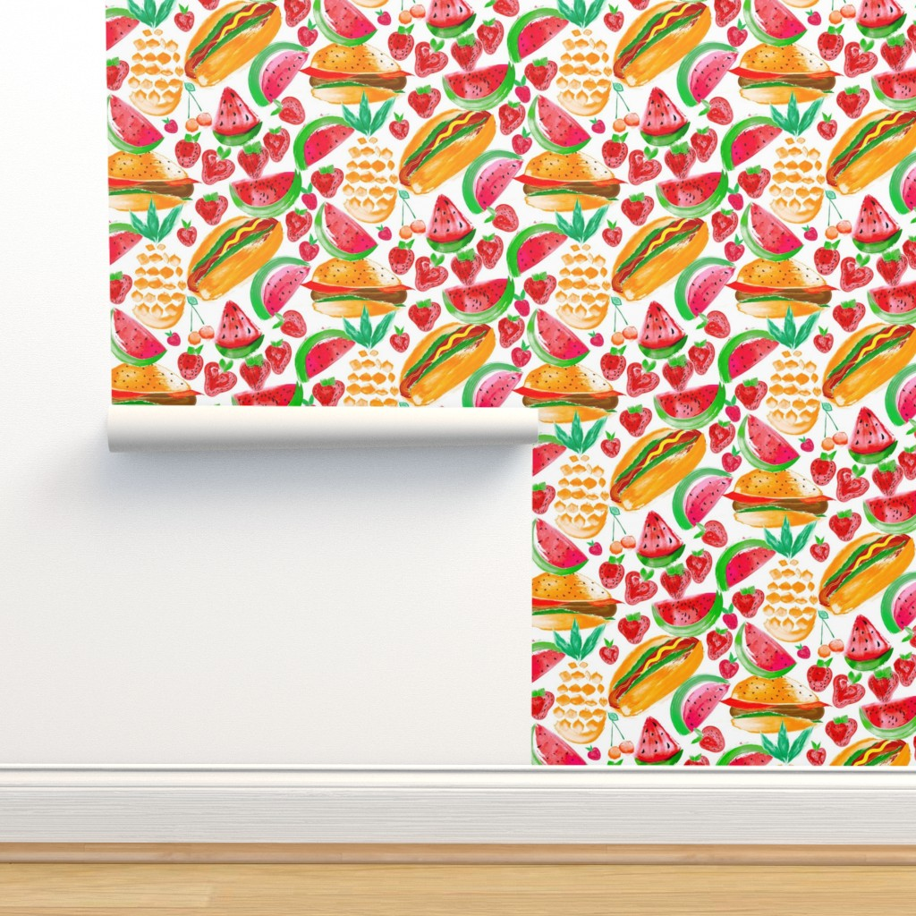 Isobar Durable Wallpaper featuring Sizzling Summer Pineapple Picnic by orangefancy