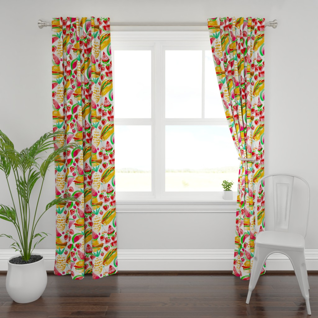 Plymouth Curtain Panel featuring Sizzling Summer Pineapple Picnic by orangefancy