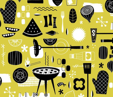 Backyard Barbecue Barkcloth - Mustard