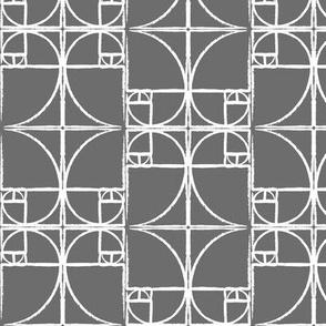 Charcoal Fibonacci Spiral