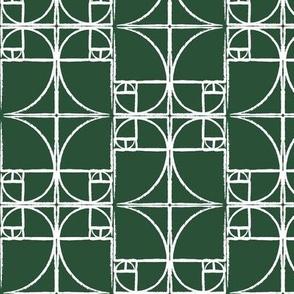 Forest Green Fibonacci Spiral