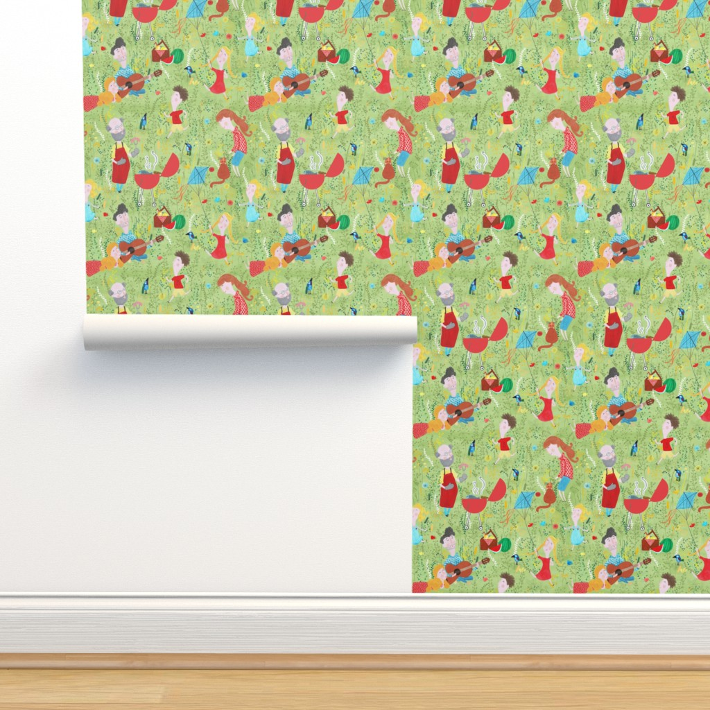 Isobar Durable Wallpaper featuring Pattern #76 - Family Summer Cookout by irenesilvino
