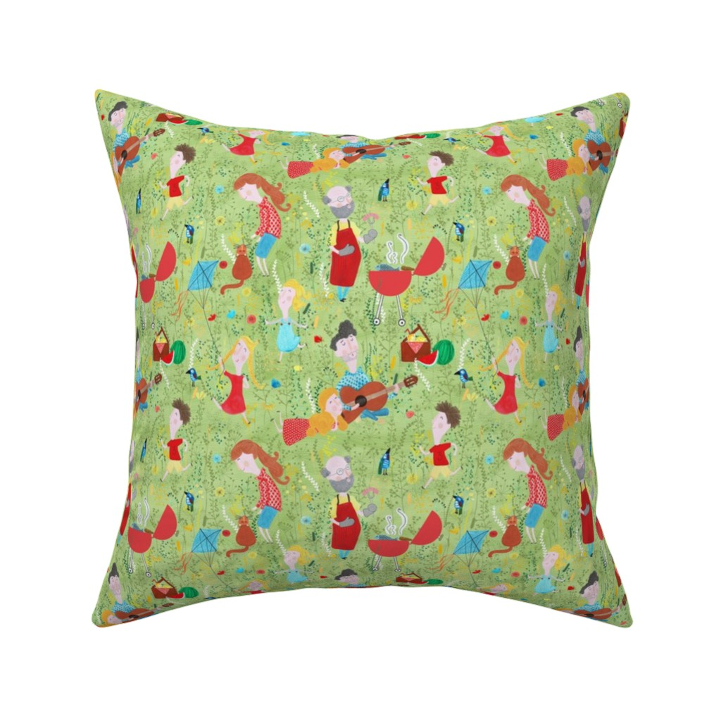 Catalan Throw Pillow featuring Pattern #76 - Family Summer Cookout by irenesilvino